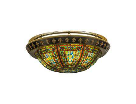 Meyda Tiffany Fleur-De-Lis Four-Light Flush Mount Light
