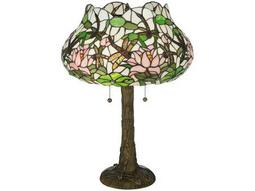 Meyda Tiffany Dragonfly Flower Multi-Color Table Lamp