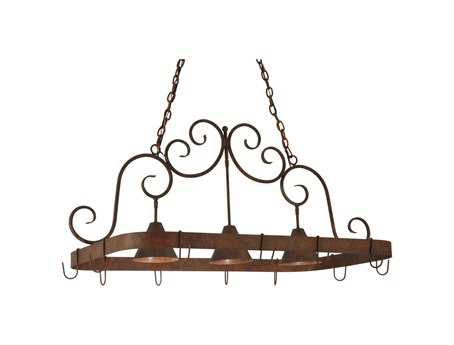 Meyda Tiffany Elana Three-Light Island Light with Pot Rack