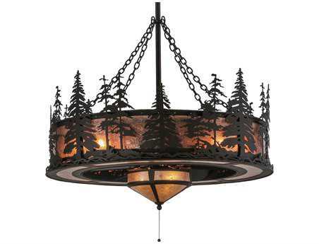Meyda Tiffany Tall Pines with Fan Light 11-Light Chandel-Air