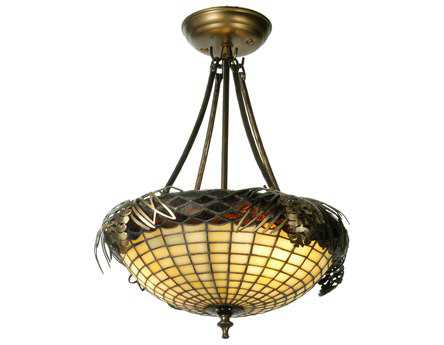 Meyda Tiffany Greenbriar Oak Acorn Three-Light Semi-Flush Mount Light
