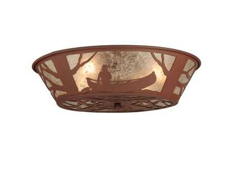 Meyda Tiffany Canoe At Lake Four-Light Flush Mount Light