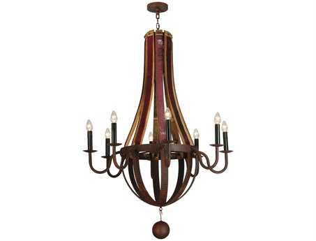 Meyda Tiffany Barrel Stave Metallo Eight-Light 43 Wide Grand Chandelier