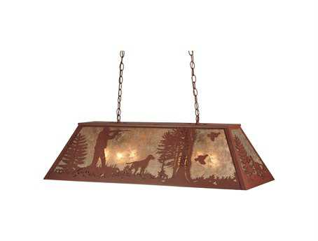 Meyda Tiffany Quail Hunter with Dog Six-Light Oblong Pendant Light