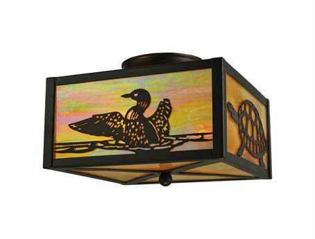 Meyda Tiffany Loons & Turtles Two-Light Flush Mount Light