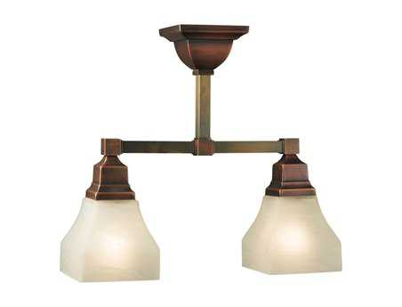 Meyda Tiffany Bungalow White Alabaster Swirl Two-Light Semi-Flush Mount Light