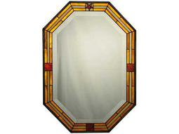 Meyda Tiffany 20 x 28 Personalized Stained Glass Brown Boarder Wall Mirror
