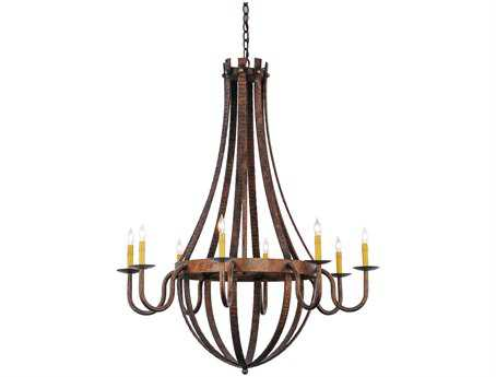 Meyda Tiffany Barrel Stave Madera Eight-Light 42 Wide Grand Chandelier