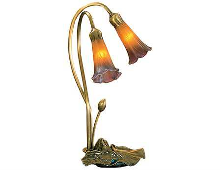 Meyda Tiffany Pond Lily Amber & Purple Accent Table Lamp