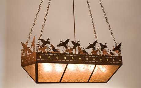 Meyda Tiffany Ducks In Flight Oblong Six-Light Inverted Pendant