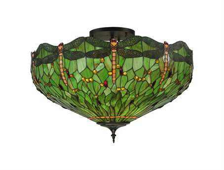 Meyda Tiffany Hanginghead Dragonfly Five-Light Flush Mount Light