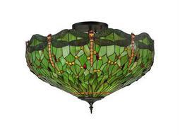 Meyda Tiffany Hanginghead Dragonfly Five-Light Flush Mount Light