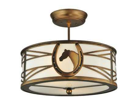 Meyda Tiffany Horseshoe Two-Light Semi-Flush Mount Light
