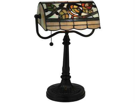 Meyda Tiffany Vineyard Multi-Color Banker's Lamp