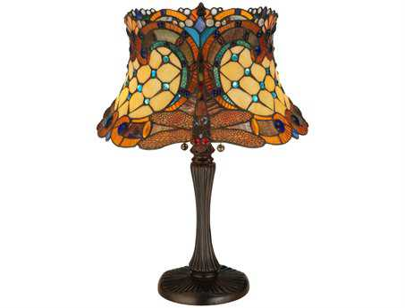 Meyda Tiffany Hanginghead Dragonfly Multi-Color Table Lamp
