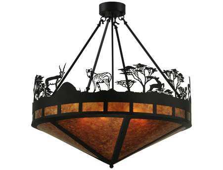 Meyda Tiffany Serengeti Six-Light Semi-Flush Mount Light