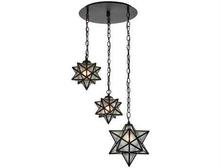 Meyda Tiffany Moravian Star Three-Light Shower Flush Mount Light