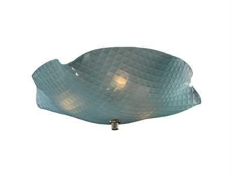 Meyda Tiffany Metro Organic Art Glass Window Pane Three-Light Flush Mount Light