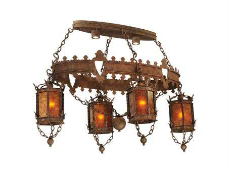 Meyda Tiffany Valhalla 4 Lantern Oblong Six-Light Grand Chandelier