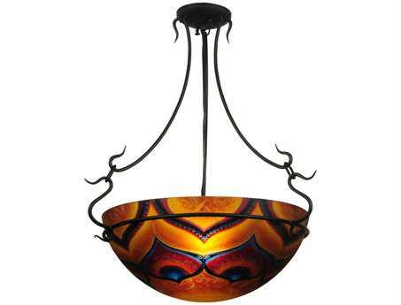 Meyda Tiffany Hand Painted Customer Supplied Three-Light Semi-Flush Mount Light