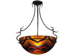 Meyda Tiffany Hand Painted Customer Supplied Three-Light Semi-Flush Mount Light