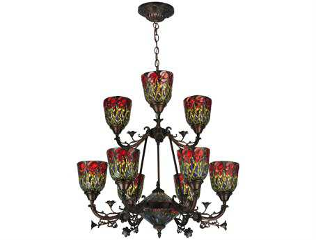 Meyda Tiffany Red Rosebud 2 Tier 11-Light 28 Wide Grand Chandelier