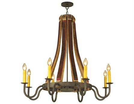 Meyda Tiffany Barrel Stave Madera Eight-Light 44 Wide Chandelier