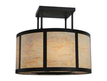 Meyda Tiffany Cilindro Vicksburg Eight-Light Semi-Flush Mount Light