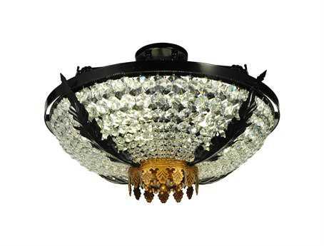 Meyda Tiffany Chrisanne Crystal Three-Light Semi-Flush Mount Light