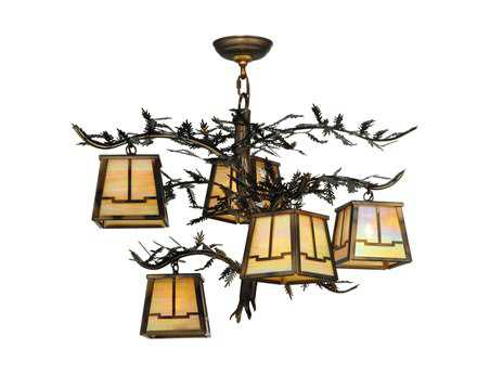 Meyda Tiffany Pine Branch Valley View Five-Light 29 Wide Chandelier