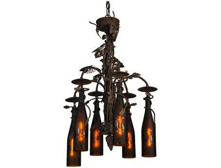 Meyda Tiffany Tuscan Vineyard 6 Wine Bottle Six-Light 20 Wide Grand Chandelier