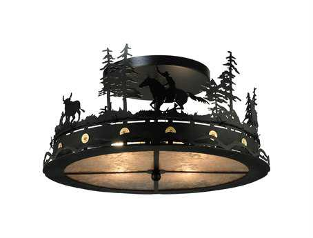 Meyda Tiffany Cowboy & Steer Four-Light Flush Mount Light