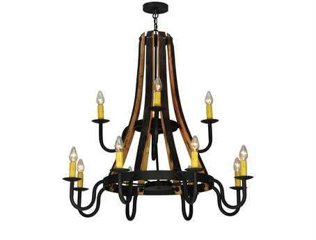 Meyda Tiffany Barrel Stave Madera 2 Tier 12-Light 44 Wide Grand Chandelier