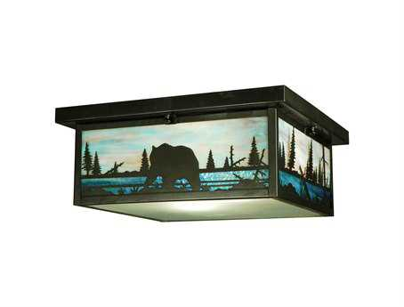 Meyda Tiffany Bear Creek Two-Light Flush Mount Light