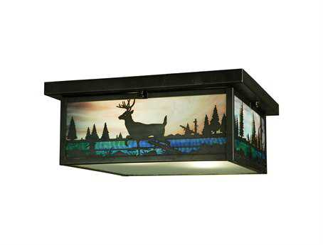 Meyda Tiffany Deer Creek Two-Light Flush Mount Light