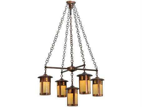 Meyda Tiffany Fulton Prairie Loft Five-Light 36 Wide Standard Chandelier