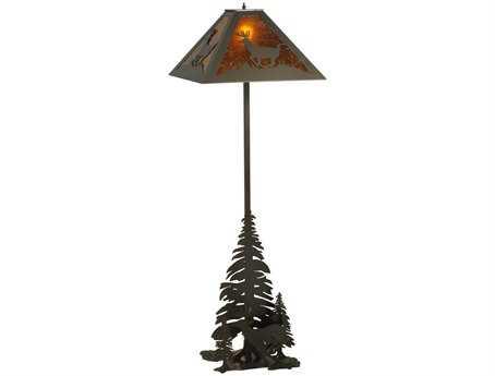 Meyda Tiffany Lone Deer Multi-Color Floor Lamp