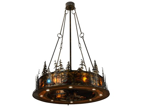 Meyda Tiffany Tall Pines with LED Spotlight 21-Light Chandel-Air