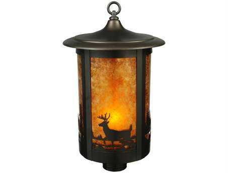 Meyda Tiffany Fulton Deer Creek Amb Mica Craftsman Outdoor Post Mount Light