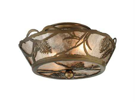 Meyda Tiffany Whispering Pines Two-Light Flush Mount Light