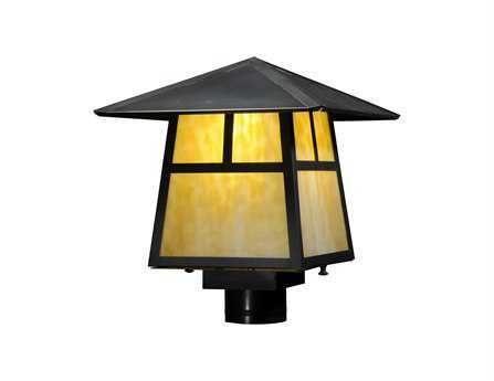 Meyda Tiffany Stillwater T Mission Beige Craftsman Outdoor Post Mount Light