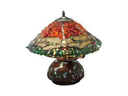 Meyda Tiffany Dragonfly Polished Jasper Multi-Color Table Lamp