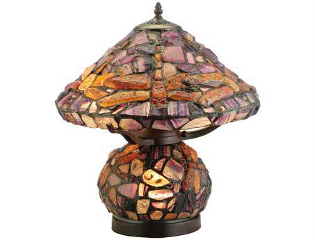 Meyda Tiffany Dragonfly Jadestone Multi-Color Table Lamp