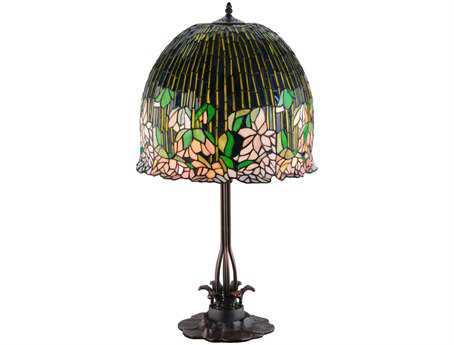 Meyda Tiffany Vizcaya Leafy Green & Pink Table Lamp