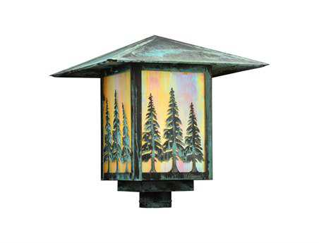 Meyda Tiffany Seneca Tall Pines Bai Verd Outdoor Post Mount Light