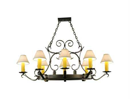 Meyda Tiffany Handforged Oval Eight-Light with Downlights Chandelier
