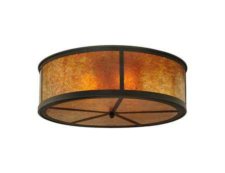 Meyda Tiffany Smythe Craftsman Amber Mica Four-Light Flush Mount Light