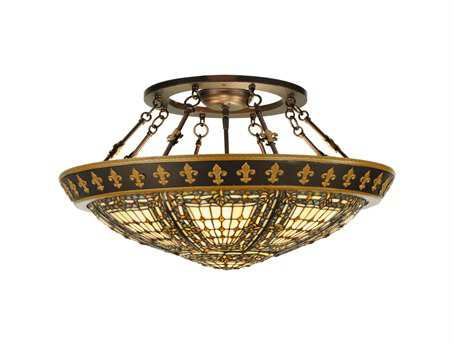 Meyda Tiffany Fleur-De-Lis Four-Light Semi-Flush Mount Light