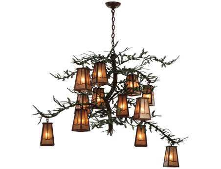 Meyda Tiffany Pine Branch Valley View 12-Light 54 Wide Grand Chandelier