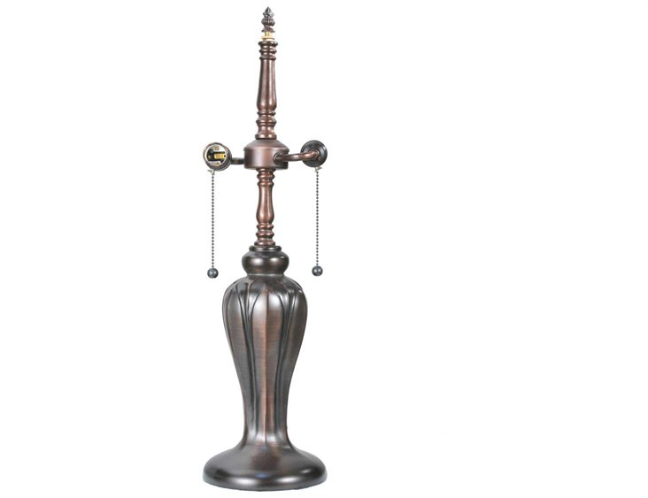 Meyda Tiffany Tulip Vase Bronze Two Light S Cluster Table Lamp Base